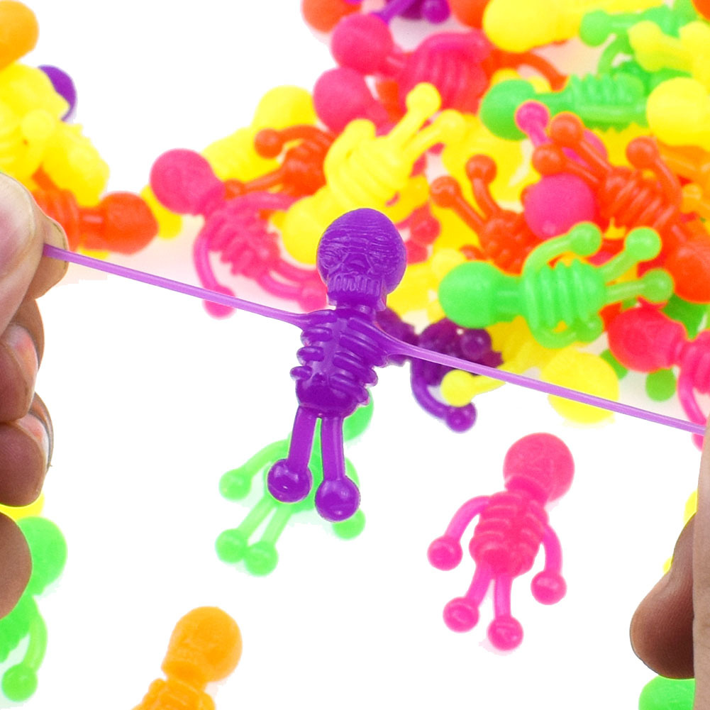 10PCS/LOT Halloween Small Toys Kids Funny Toy Colorful TPR Skeleton Botnet Model Dummy Gags Toys Prank Squishy Squishies Gift