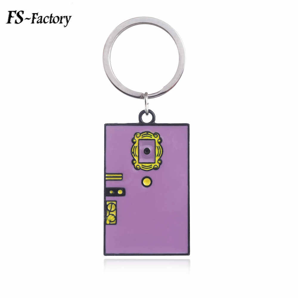 TV Show Friends Monica's Door Keychain Purple Green Metal Enamel Key Chain Women Men Best Friend Choker Keyring Jewelry Gift