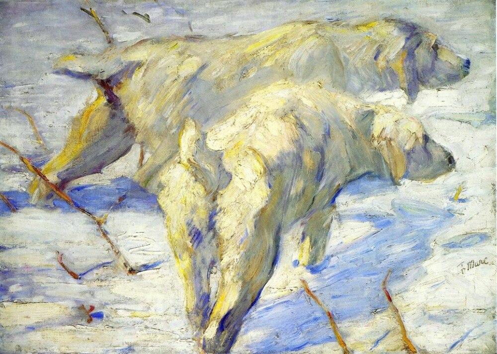 1909 par Franz Marc peint à la main peinture à l'huile de haute qualité Reproductions sur toile chiens de mouton sibériens alias chiens de sibérie dans la neige