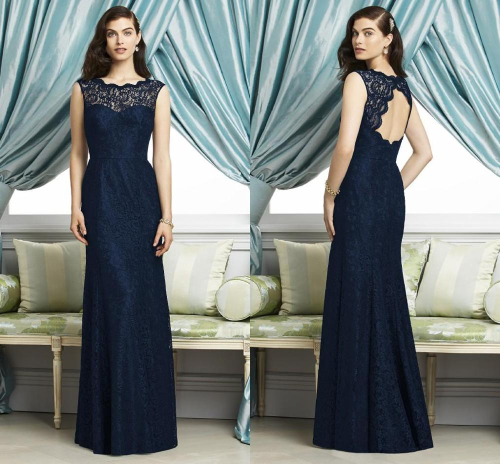 Online get cheap dark blue lace bridesmaid dresses aliexpress 2016 dark navy blue lace bridesmaid dresses backless a line wedding party prom gowns robe demoiselle ombrellifo Images