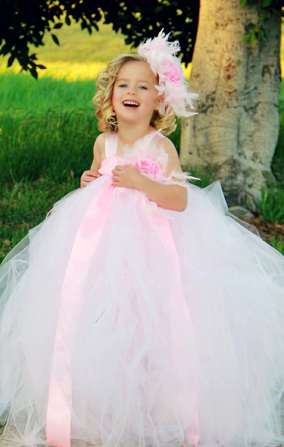 Winter Feather Flower Girl Dress Light Pink Tutu Dress Toddler ...