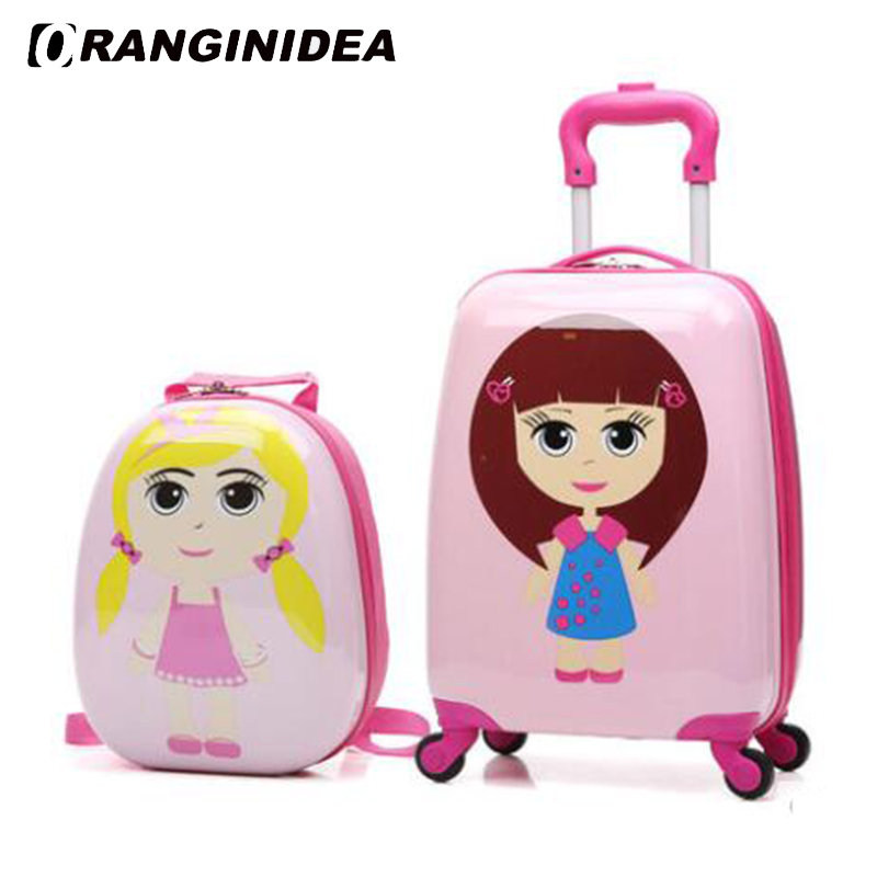 18 Kids Luggage Set Cartoon Animal Rolling Spinner Luggage Children Suitcases Wheel Trolley Travel Bag Student Carry On Trunk 20 inch fashion rolling luggage women trolley men travel bag student boarding box children carry on luggage kids trunk suitcases