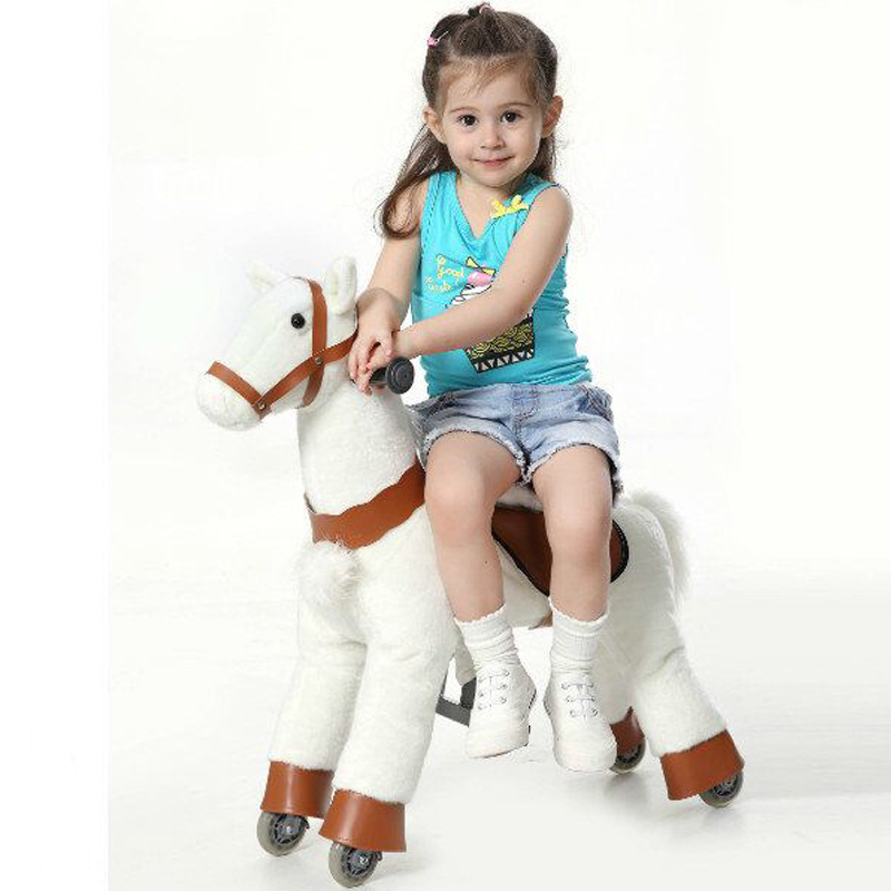 S Размеры малыш механических ходьба лошади игрушки-качалки животного ездить плюшевые игрушки Верховая езда Colt на колеса детей рождественск...