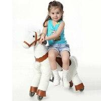 S Размеры малыш механических ходьба лошади игрушки качалки животного ездить плюшевые игрушки Верховая езда Colt на колеса детей рождественск