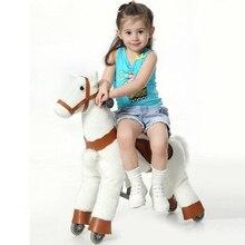 S Size Kid Mechanical Walking Horse Toy Rocking Animal Ride Plush Toys Riding Horse Colt on Wheels Children Christmas Gifts