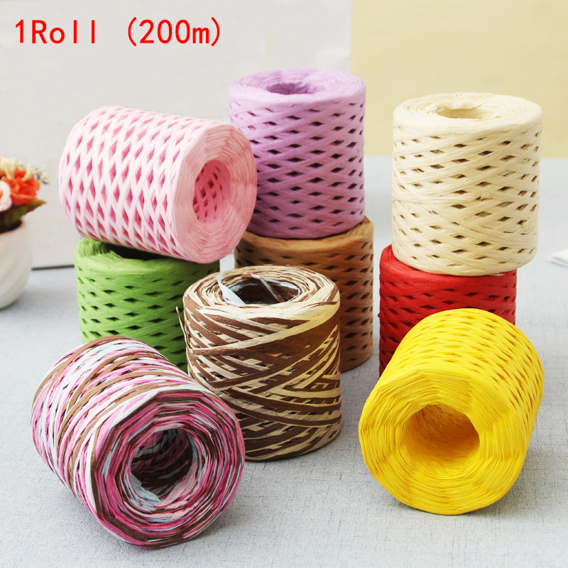 Image 2 - 200M Paper Rope Raffia Ribbon Natural Lace Rope Gift Box Wrapping DIY Scrapbooking Crafts Wedding Birthday Party Decoration-in Party DIY Decorations from Home & Garden