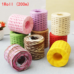 Image 2 - 200M Paper Rope Raffia Ribbon Natural Lace Rope Gift Box Wrapping DIY Scrapbooking Crafts Wedding Birthday Party Decoration