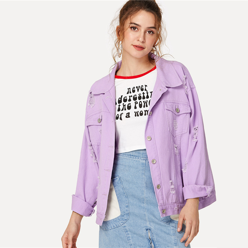 COLROVIE Ripped Drop Shoulder Women Denim Jackets Black White Oversize Purple Casual Female Jacket Coat Chic Jacket for Girls 11