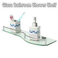Glass Bathroom Shower Shelf Single Glass Shelf Storage Wall Mounted Durable Quality