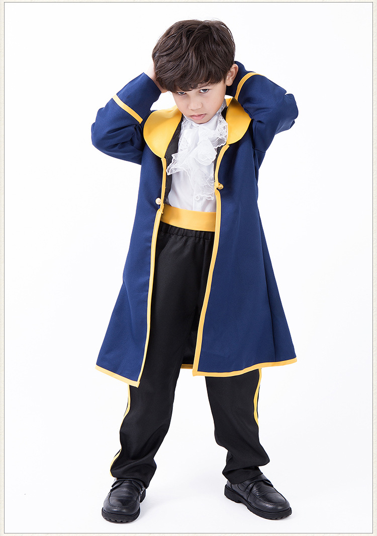 Beauty and The Beast Kids Costume Cosplay Jacket Shirt Pants Full Set Children Boys Outfits