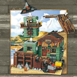 Image 5 - Pomysły stary sklep wędkarski ze światłem zestaw lepinlys budowa domu bloki 21310 cegły edukacyjne zabawki dla dzieci prezent na boże narodzenie