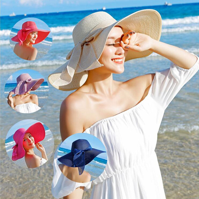 4c079d3a5 US $8.88 59% OFF|Large Brim Sun Hat Summer Paper Straw Hats Women Ladies UV  Protect Floppy Beach Cap Kentucky Derby Party Drress Hats B 7834B-in Sun ...