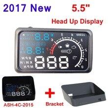 5.5 pulgadas de Pantalla Auto Car HUD Puerto OBD II Head Up pantalla KM/h MPH Sistema HUD Sobrevelocidad Advertencia Parabrisas Proyector de Alarma soporte