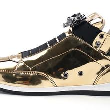 New Fashion High Top Casual Shoes For Men Super Cool lion Head gold silver  botas Mens c036387ac5c2