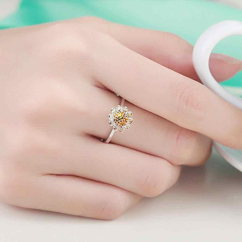 1ชิ้นน่ารักอาทิตย์ดอกไม้เงินเสน่ห์ที่ยอดเยี่ยมเลดี้แหวนผู้หญิง