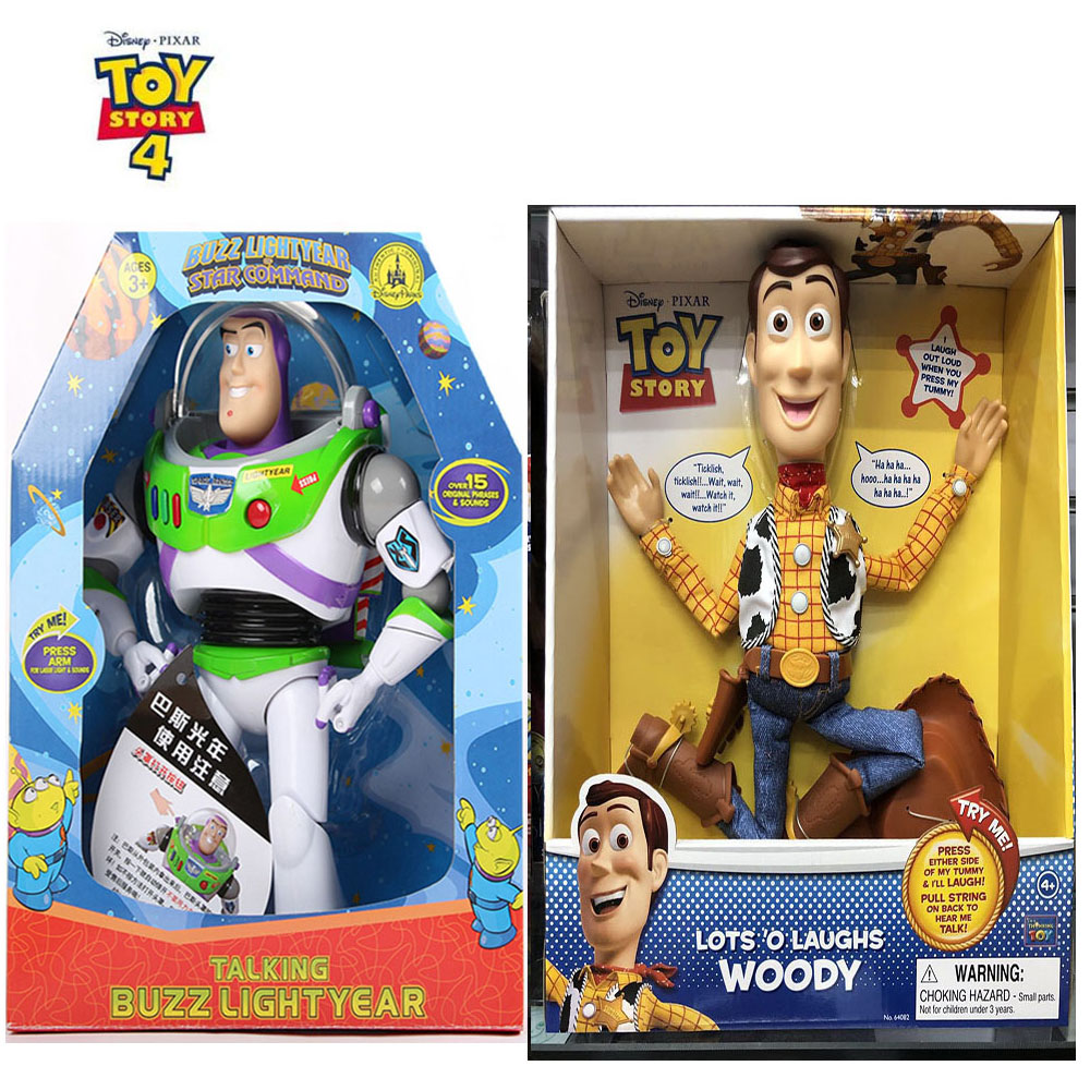New Disney Toy Story 4 3 Woody Buzz Lightyear Talking Walking Light Figure Toys Woody Jessie Christmas Gift Collect Kids Dolls