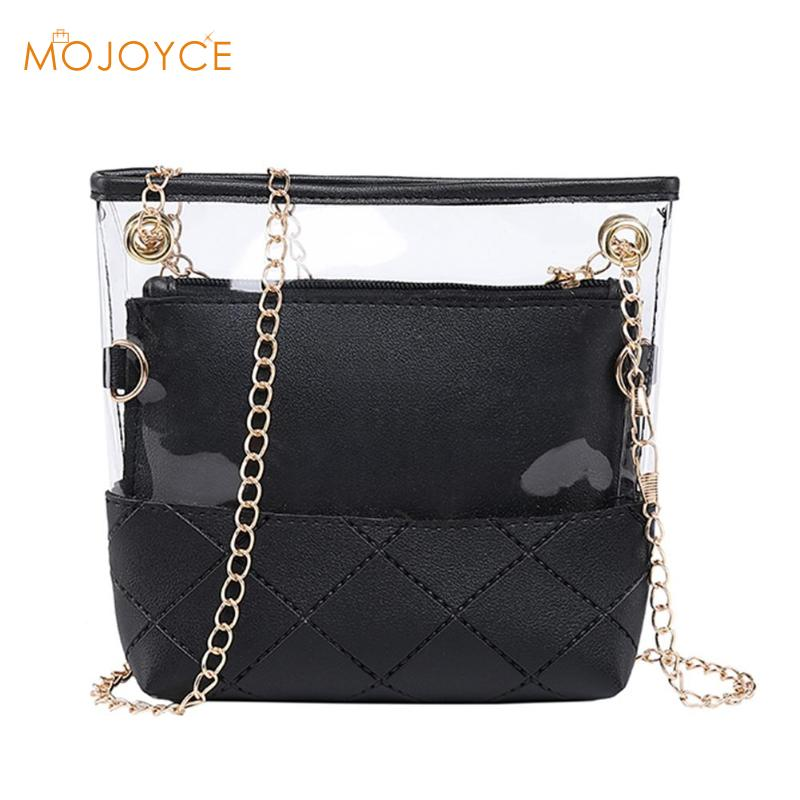 2pcs/set Summer New Fashion Bag Transparent Solid Color Inner Bag  Women Chain Crossbody Bags Shoulder Diagonal Ladies Bag2pcs/set Summer New Fashion Bag Transparent Solid Color Inner Bag  Women Chain Crossbody Bags Shoulder Diagonal Ladies Bag
