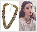 Amor Señora de la oficina Elegante Imitación de Piedras Preciosas de Múltiples Cadena Bib Collares Collar de La Manera Bijoux Vestido Jewlery