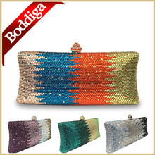 New Orange Bag Square Box Style Clutch Women Crystal Clutch Bag Green Gold Purse Silver Handbag