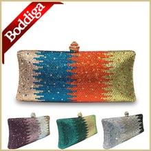New Orange Bag Square Box Style Clutch Women Crystal Clutch Bag Green Gold Purse Silver Handbag