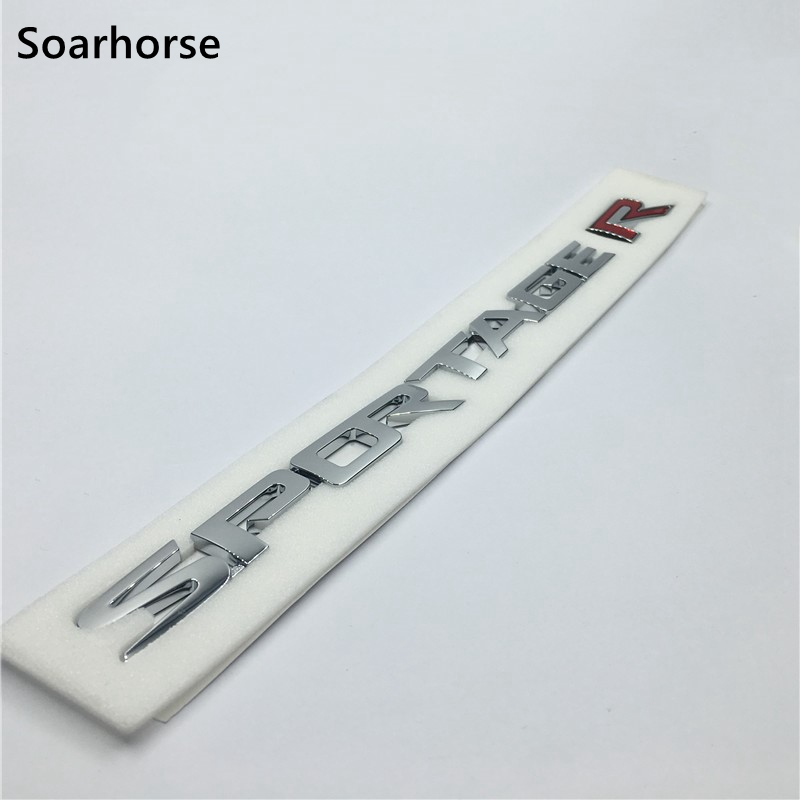 Soarhorse 3D  Sportage R Letters Logo Car Rear Trunk Lid Emblem Badge Sticker For Kia Sportage Accessory Decal interior black rear trunk cargo cover shield 1 pcs for kia sportage 2016 2017