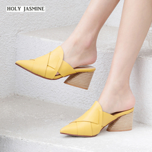Thick Medium Heels Slippers Women Summer 2019 New Fashion Ladies Pointed Toe Mules Shoes Leather Slides Unusual Shoe Footwear wetkiss new summer med heels women slippers 2018 fashion casual ladies mules shoes open toe square heels leather slides footwear