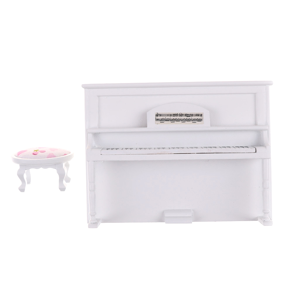 White Miniature Piano For Dolls Pretend Play Toys Gifts For Girls Children Kids 1:12 Dollhouse Wooden Furniture Toy