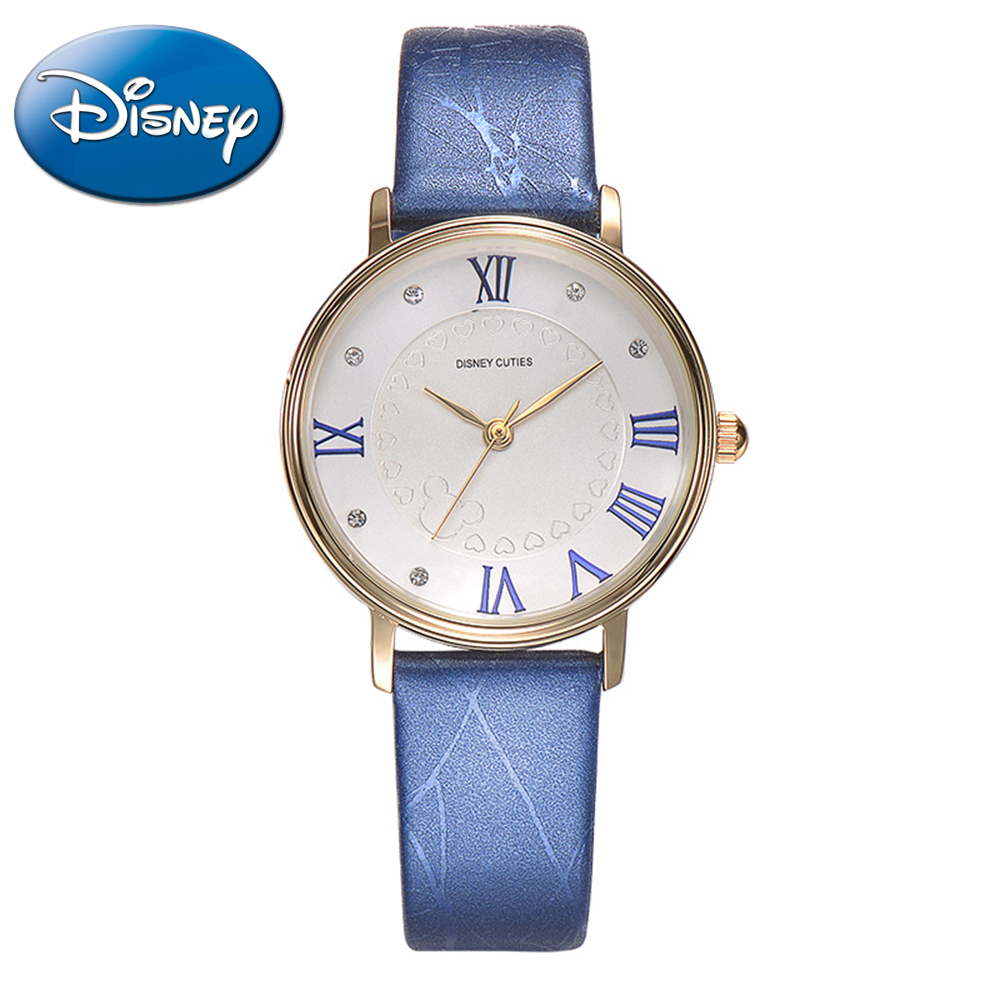 Disney Cuties Women Best Rhinestone Original Gift Box Leather Watches Pretty Girl Fashion Casual Quartz Watch Mickey Mouse 51185 100% genuine disney mickey mouse women quartz wrist watch with brand box packaging for 2016 birthday gift 30m feet waterproof