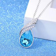 Женское ожерелье из серебра 100% пробы с синими кристаллами