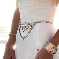 European And American Luxury Fashion Belt Chain Women S Lady Full Crystal Belts Body Chain Casual