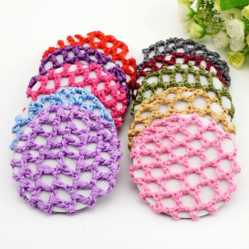 1pcs/pack  Elastic Hair Snood Net Handmade Crochet Pearl Hairnet Heardress For Dance Performance Hairnet