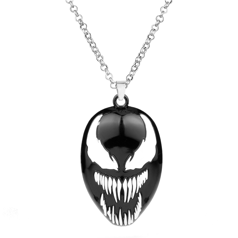HEYu Horror <font><b>Jewelry</b></font> Venom Mask Pendant Necklace Cosplay Colar long Chocker Chain Accessories Movie <font><b>Fans</b></font> Gift image