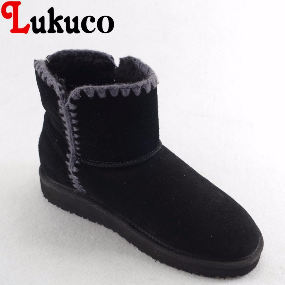 Lukuco pure color women mid-calf snow boots microfiber made nubuck leather winter shoes with short plush inside stylish women s mid calf boots with solid color and fringe design