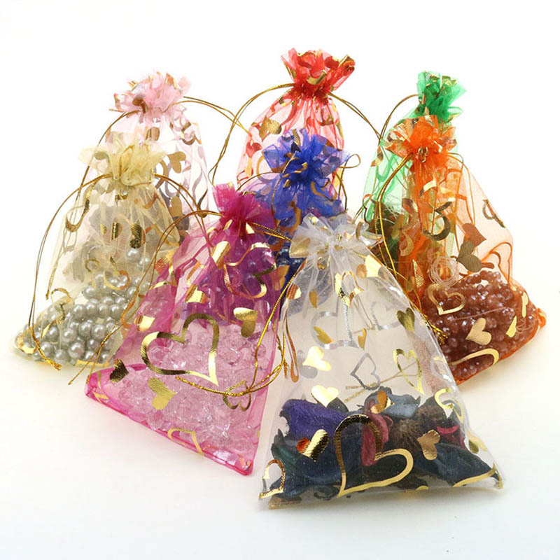 20Pcs/lot 9x12cm Heart Jewelry Organza Bag Drawable Ribbon Sheer Tulle Bags Wedding Decor Party Favors Gifts  Pouches Packaging