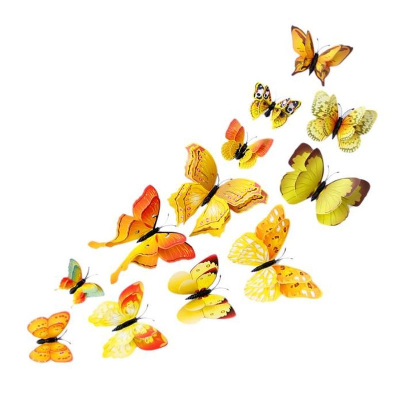 12x 3D Butterfly Wall Sticker Fridge Magnet Room Decor Decal ...