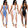 Side Lace Up Sexy Party Jumpsuit Hollow Out Nightclub 1