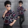Camisas para Os Meninos Adolescentes Inverno Xadrez Camisola Morna Assentamento Camisa Top De Veludo Roupas Infantis Miúdo Outerwear Estudante Roupas