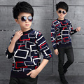 Shirts for Teenager Boys Winter Plaid Sweatshirt Warm Bottoming Shirt Velvet Top Kid Clothes Infant Outerwear Schoolboy Clothing