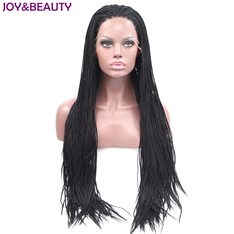 JOY&BEAUTY Natural black Hand Knitting long pre braided Lace Front wigs synthetic High Temperature Fiber Gray Brown 4 Colors