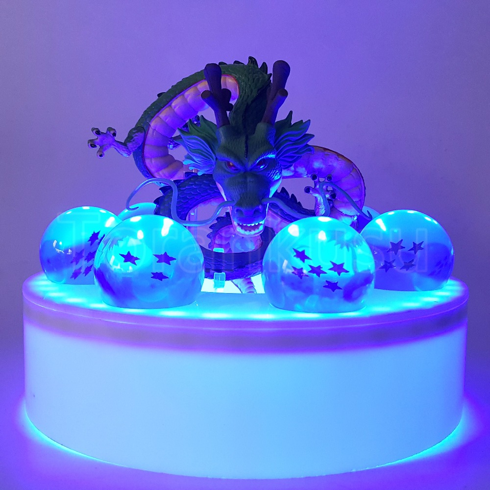 Dragon Ball Z Action Figure Shenron Blue LED Crystal Ball PVC Model Toy Anime Dragon Ball Super Drgaon With Base DBZ Doll DIY126