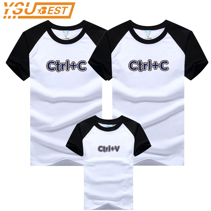 купить Family Matching Outfits Ctrl + C Crtl + V Summer T Shirt Mother and Daughter Clothes Family Suit Family Look Father Son Clothes по цене 304.63 рублей