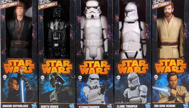 hot 12 30cm star wars stormtrooper darth vader anakin skywalker obi wan kenobi pvc action. Black Bedroom Furniture Sets. Home Design Ideas