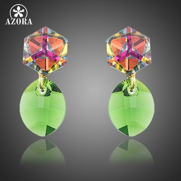 AZORA Gold Color Cute Gradual Change Cube and Green Oval Stellux Austrian Crystal Drop Earrings TE0181