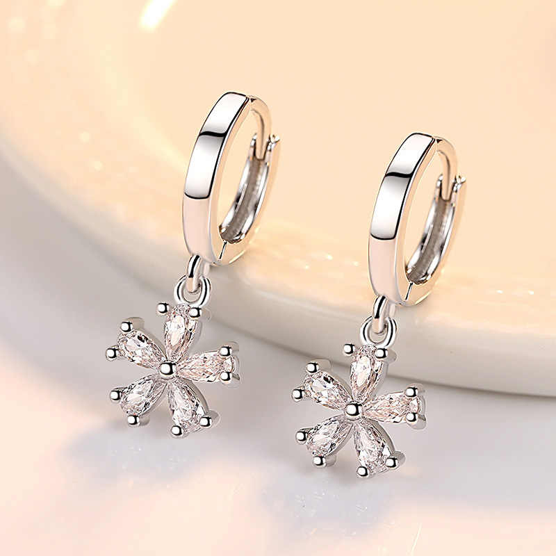 Sweet Sydney flowers sterling silver hoop earring, Round Cubic Zircon 100% 925 Solid sterling silver jewelry earrings for women
