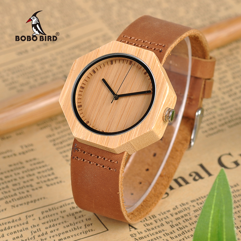 BOBO BIRD Lady Wood Watches Leather Strap Quartz Wristwatches Casual Men Bamboo Watch Timepieces bobo bird l b08 bamboo wooden watches for men women casual wood dial face 2035 quartz watch silicone strap extra band as gift