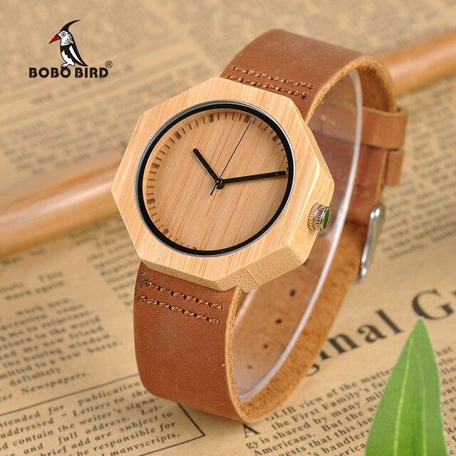 BOBO BIRD Lady Wood Watches Leather Strap Quartz Wristwatches Casual Men Bamboo