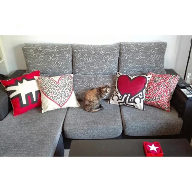 Graffiti Style Cushion Cover Keith Haring Throw Pillow Sofa