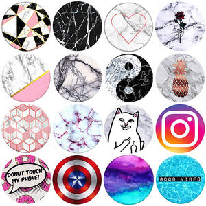 Marble Pattern Round Metal Plate disk Paste On smartphone For Magnetic Car Cell Phone
