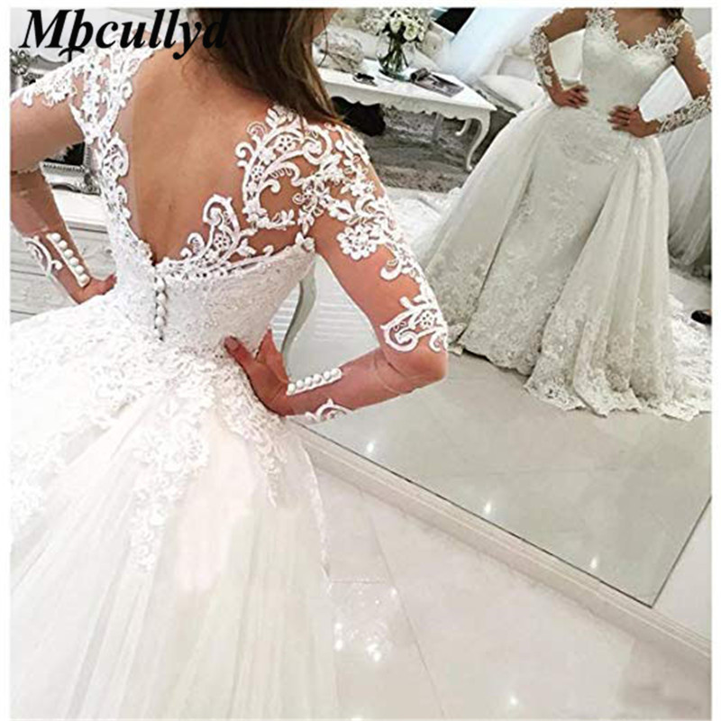 Mbcullyd Detachable Long Train Arabic Wedding Dresses Sweep Train Bride Gowns Applique Lace Formal Full Sleeves vestido de noiva