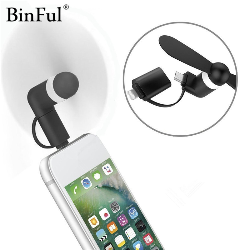 BinFul 6 colors Wholesale Portable Travel Mini USB + Micro USB Fan Fans for Android smart Phone for iPhone 8 7 plus 6s 6 Plus 5s usb and micro usb phone fan
